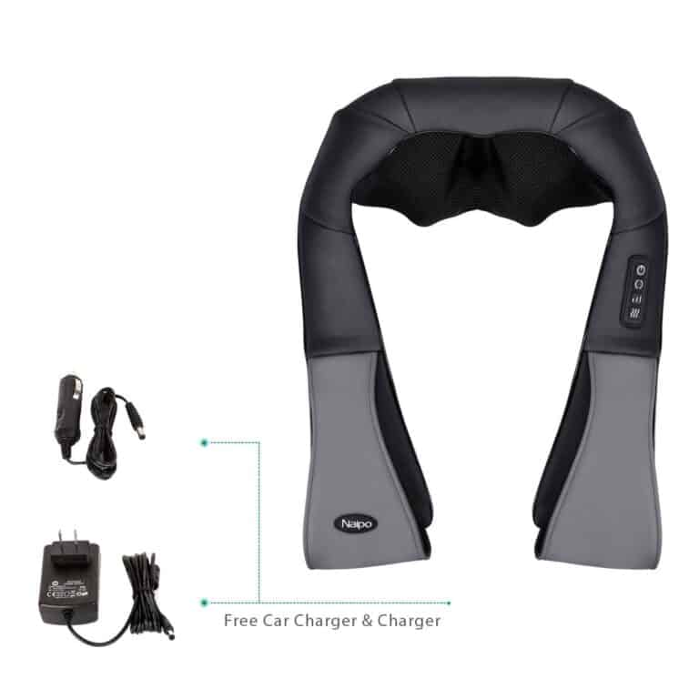 Naipo Neck and Shoulder Massager Deep Kneading Shiatsu Massager Adjustable Intensity with Heat 4