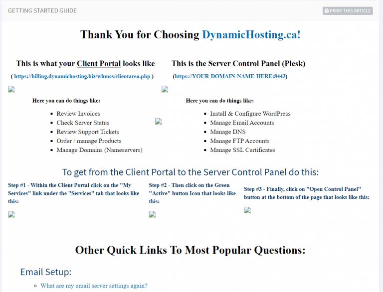 Dynamic Hosting - Aide en ligne