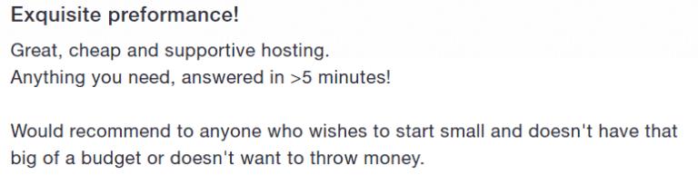 Dynamic Hosting - Avis client 1