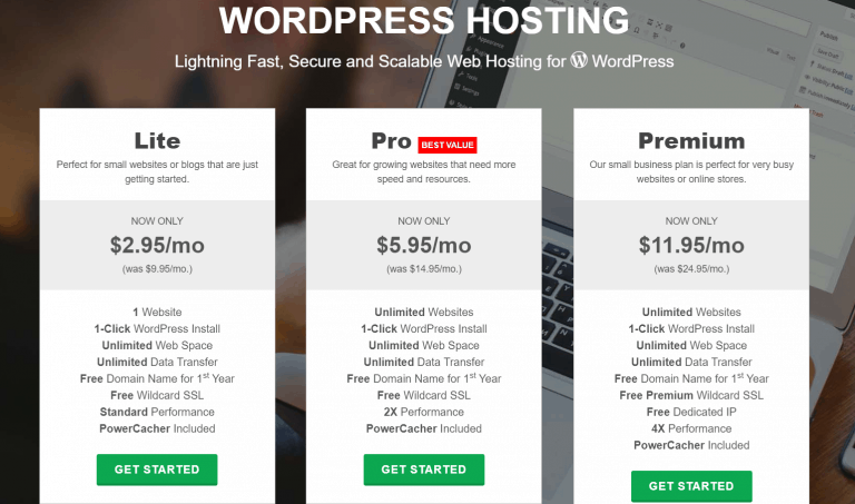 GreenGeeks - Forfaits WordPress
