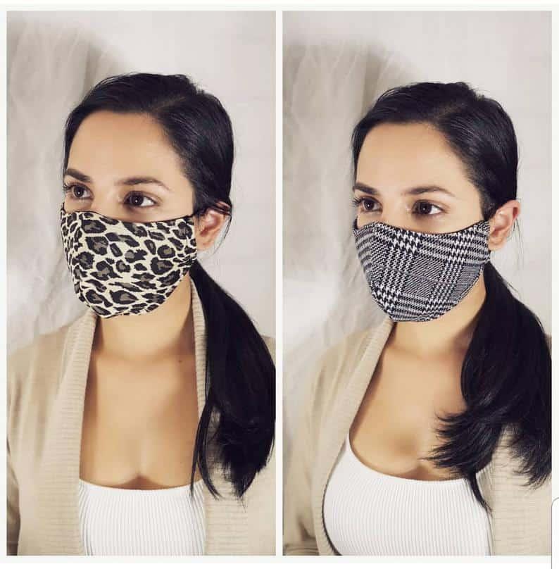 Masque de visage en tissu réutilisable avec poche de filtre Office Plaid