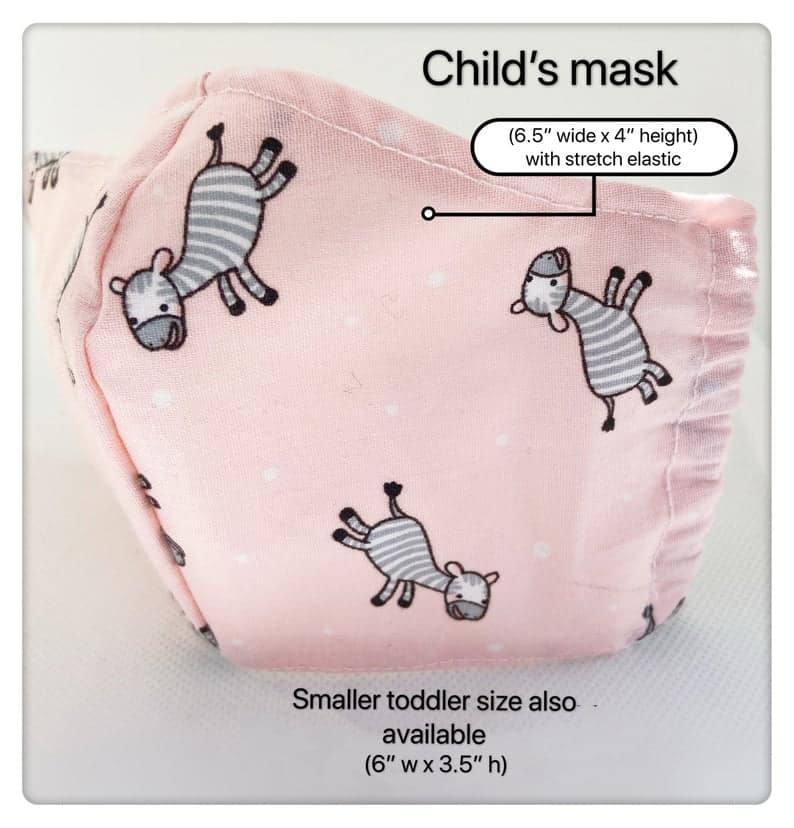 Masque facial pour enfants en bas âge fabriqué au Canada B. Pink Zebra