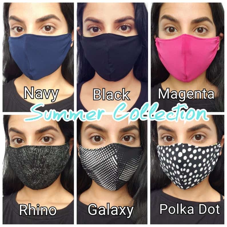 Masque de visage en tissu réutilisable avec poche de filtre Polka Dot